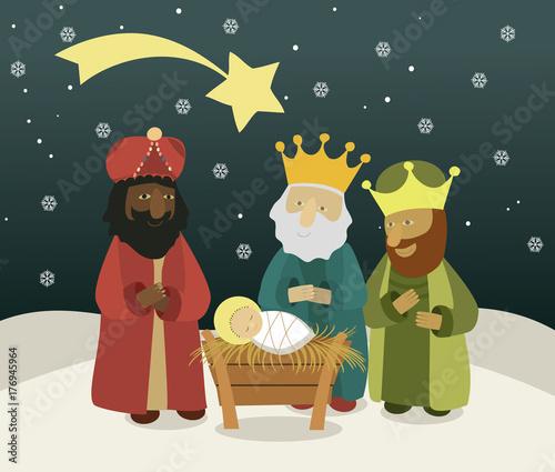 Fotografia Three wise men bring presents to Jesus