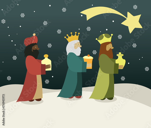 Leinwand Poster Three wise men bring presents to Jesus