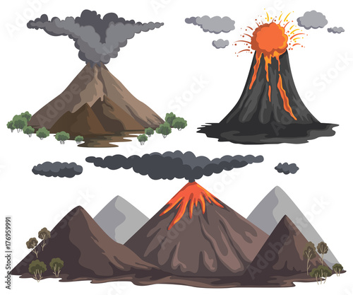 Volcanoes with magma, lava and smoke. Mountain landscapes. Vector illustration Fototapete