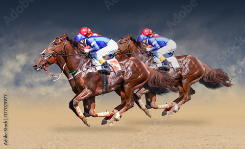 Fotografia Four racing horses neck to neck in fierce competition for the finish line