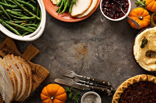 Obraz na plátne Thanksgiving table overhead shot
