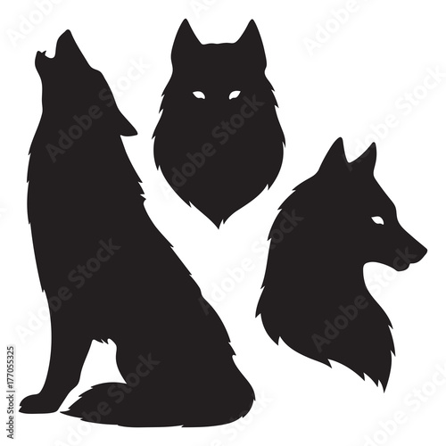 Fototapeta premium Zestaw sylwetki wilka na białym tle. Ilustracja wektorowa projekt naklejki, druku lub tatuażu. Pogański totem, wiccanowska sztuka chowańca
