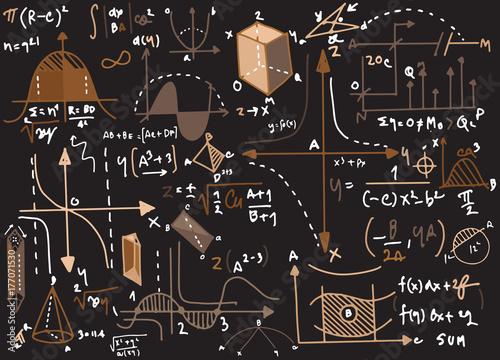 Canvas Print Physical formulas and phenomenon. hand-drawn illustration. scien