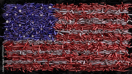 Fotografija USA Flag formed out of bullets / 3d illustration / 3d rendering