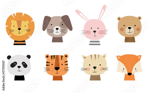 Wallpaper Mural Cartoon cute animals for baby cards