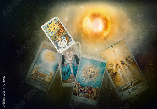 Tarot card / View of tarot card on the table. The Sun.