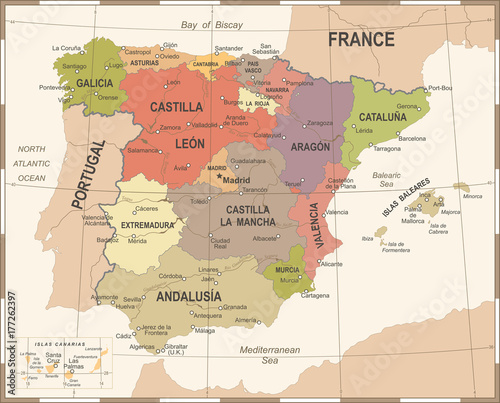 Photo Spain Map - Vintage Vector Illustration
