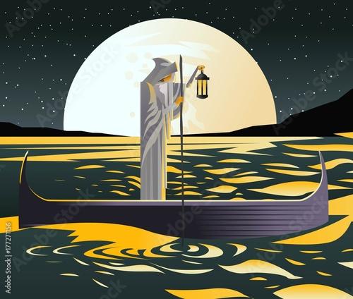 Obraz na płótnie charon with boat traveling in styx sea
