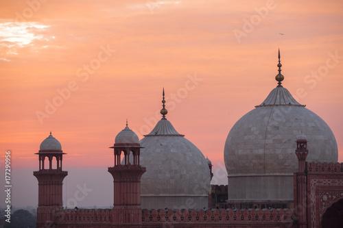 The Emperors Mosque - Badshahi Masjid at sunset