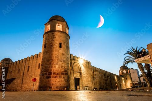 Fortress Ribat in Medina Sousse in the moonlit night Fototapeta