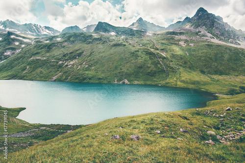 Lake and Mountains range Landscape Summer Travel serene scenic aerial view atmospheric scene