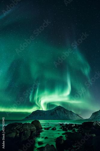 Fotografia Mehr als Worte, Polarlicher in Norwegen, Nordlichter auf Lofoten