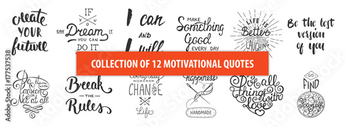Set of motivational and inspirational vector hand drawn unique typography design element for greeting cards, decoration, prints and posters. Modern calligraphy. Handwritten lettering.