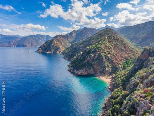 Golf von Porto an der Westküste von Korsika Fototapeta