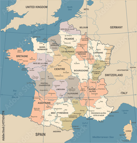 France Map - Vintage Vector Illustration Fototapeta