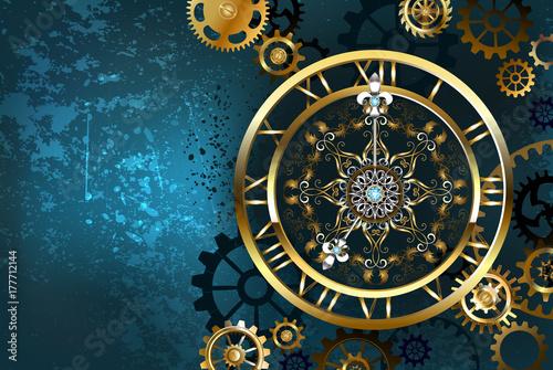 Carta da parati Golden clock on turquoise background