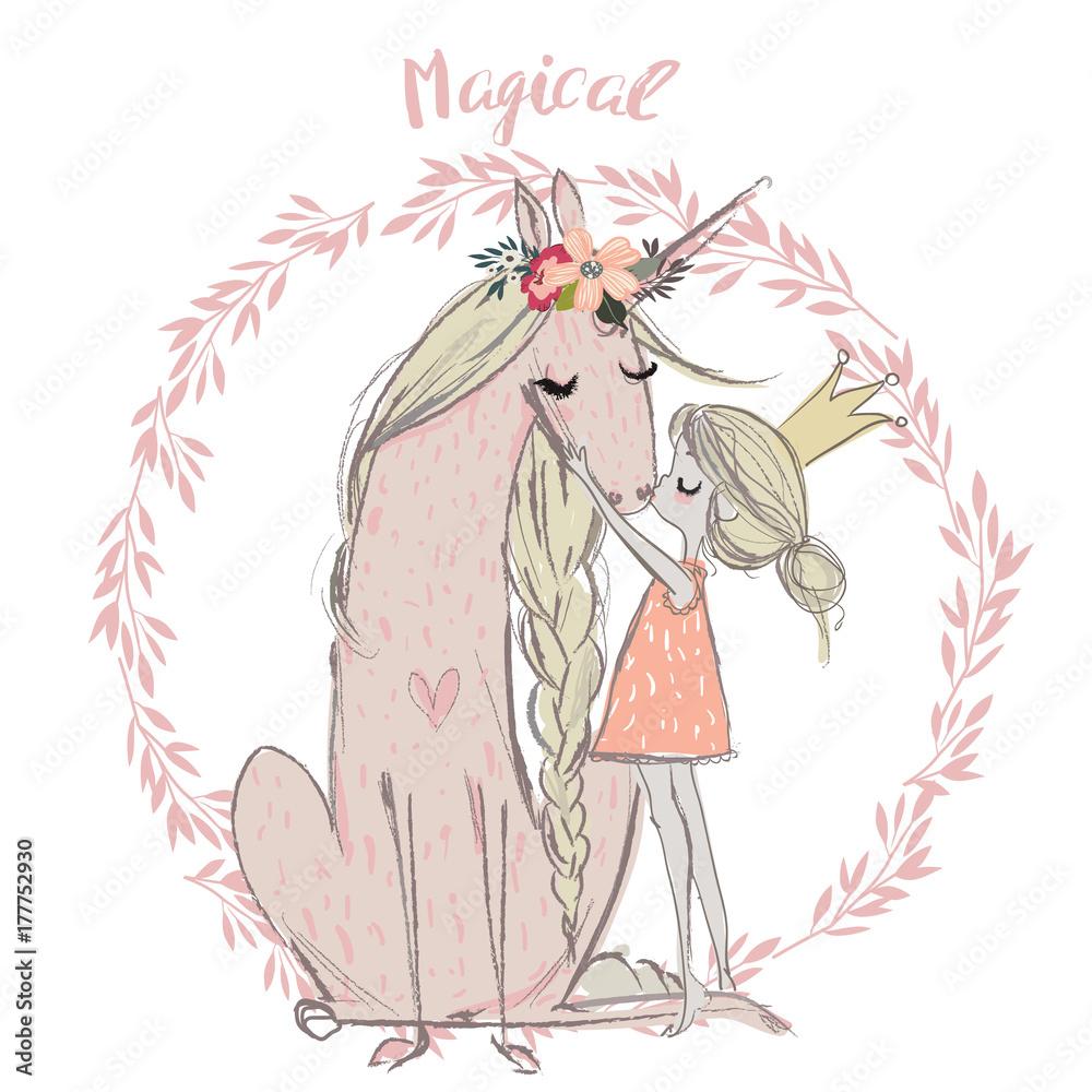 Cute unicorn with princess <span>plik: #177752930   autor: cofeee</span>