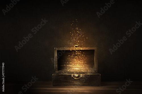 Fotografie, Obraz Opened Treasure Chest with Glowing Sparkles and Stars