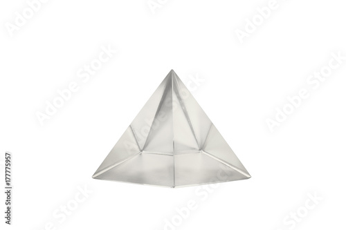 Pyramid glass / View of pyramid glass on white background.