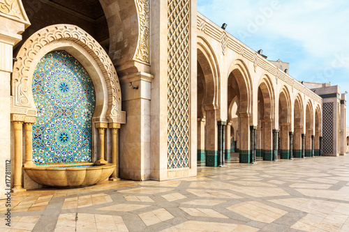 Obraz na płótnie Fountain at the mosque Hassan second, Casablanca, Morocco