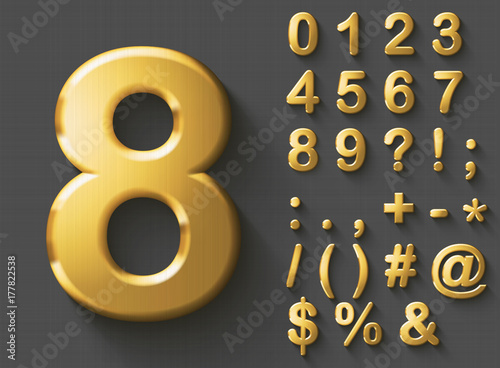Photo Set of golden luxury 3D Numbers and Characters
