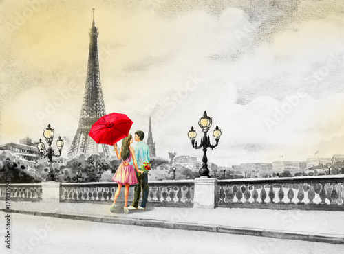 France, eiffel tower and couple young boys, woman