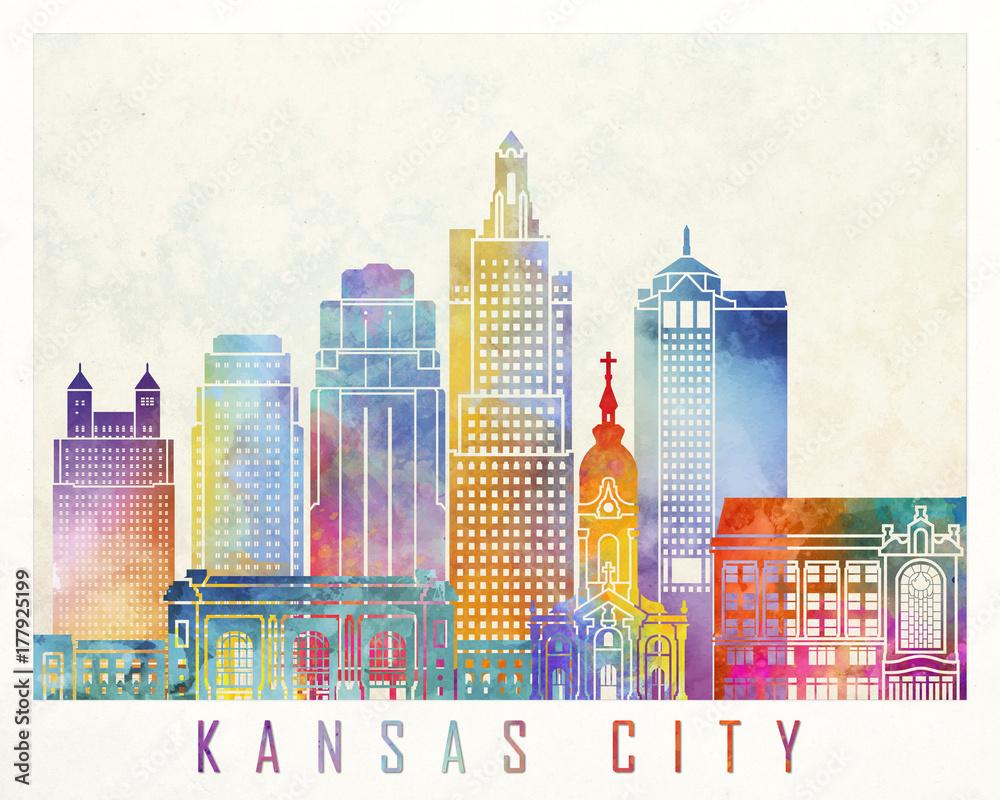 Kansas City zabytki akwarela plakat <span>plik: #177925199   autor: paulrommer</span>