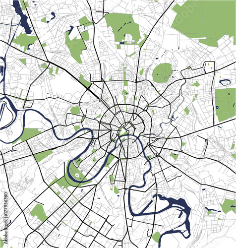 Fototapeta illustration map of the city of Moscow, Russia