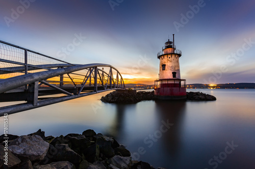 Sleepy Hollow Lighthouse (aka Tarrytown Light) at dusk. The cast iron tower was installed in 1883 and operated until 1961.