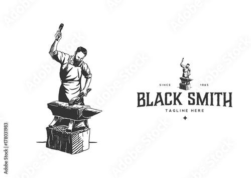 Black Smith Hand Drawn Style Fototapeta