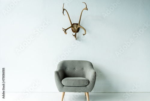 Wallpaper Mural armchair and antlers on wall