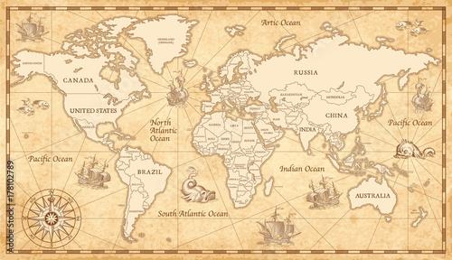 Fototapeta premium Stara mapa świata vintage