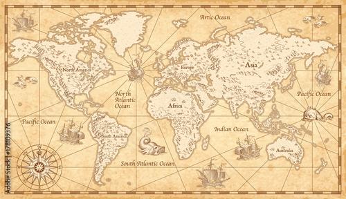 Fototapeta premium Vintage ilustrowana mapa świata