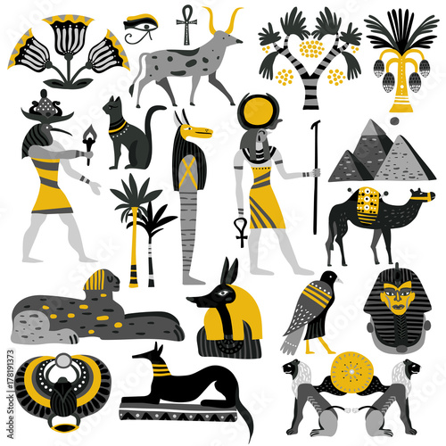 Wallpaper Mural Egypt Decorative Icons Set