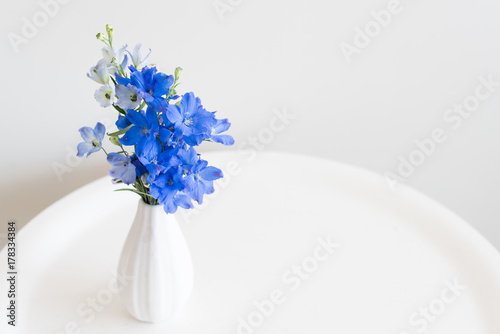 Canvas Print High angle close up view of blue delphinium flowers in small white vase on round