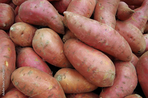 Sweet potatoes piled for market