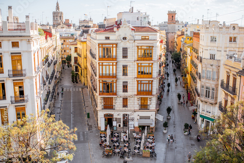 Aerial cityscape view from Serranos towers on the old town of Valencia city in Spain