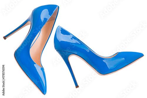 Fotografia, Obraz Blue lacquered high-heeled shoes
