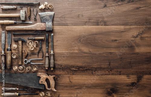 Slika na platnu Collection of vintage woodworking tools