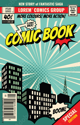 Obraz na płótnie Retro magazine cover. Vintage comic book vector template