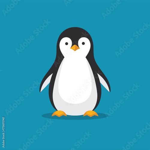 Stampa su Tela Cute penguin icon in flat style.