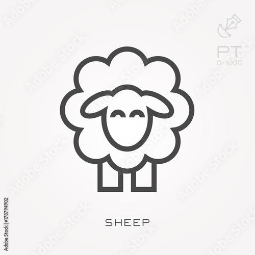 Fotografia Line icon sheep