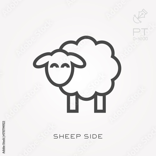 Fotografia Line icon sheep side