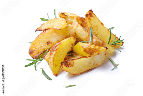 Roasted potatoes on white background