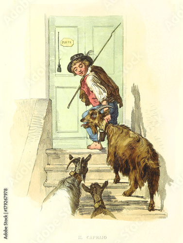 Tablou Canvas Ancient goatherd leading a goat on stairs