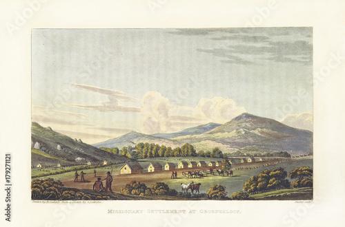 Obraz na plátne Ancient natural landscape with houses
