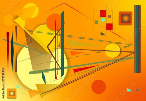 Abstract  orange  background ,fancy  geometric and curved shapes , expressionism art