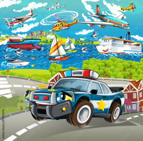 Scena kreskówki z samochodu policyjnego jazdy po mieście - samoloty i statki w tle - ilustracja dla dzieci