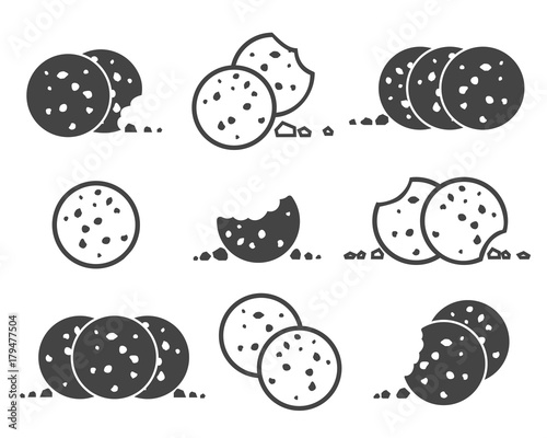 Canvas Print Bitten chip cookies icon set