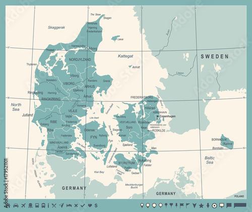 Canvas Print Denmark Map - Vintage Vector Illustration